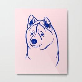 American Akita (Pink and Blue) Metal Print