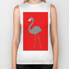 Checkerboard Flamingo Biker Tank