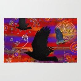 Sunset on Lake Wendouree - Australian Aboriginal Art Theme Rug