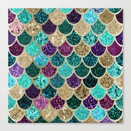 Mermaid Scales Decor, Teal, Purple, Gold Canvas Print