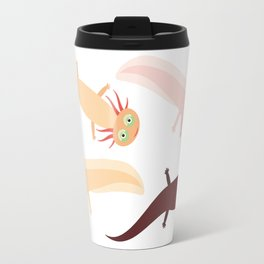 Cute orange pink brown Axolotl Cartoon character (Mexican salamander, Ambystoma mexicanum) Travel Mug