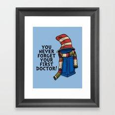 Blue Box in the Hat Framed Art Print