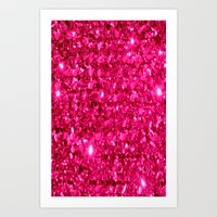 sparkle Art Prints featuring SparklE Hot Pink by 2sweet4words Designs