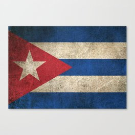 Old and Worn Distressed Vintage Flag of Cuba Canvas Print