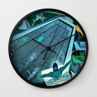 swimming Wall Clocks featuring Swimming by Robin Curtiss