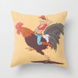 Girl Riding a Cock Throw Pillow