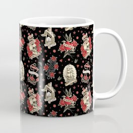 Old School Tattoo. Pattern. Black Coffee Mug