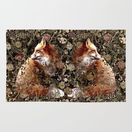 William Morris Pattern and Foxes - Black Rug