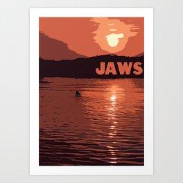 Jaws Poster - Orange Art Print