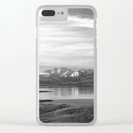 Lake Tekapo New Zealand-Black and White Clear iPhone Case