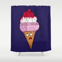 cocaine Shower Curtains featuring There's Never Gonna Be Enough Ice Cream! by Chris Piascik