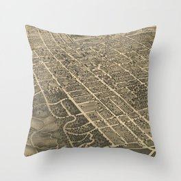 Vintage Pictorial Map of Winston-Salem NC (1891) Throw Pillow