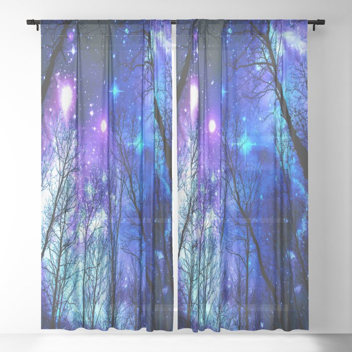 black trees purple blue space copyright protected Sheer Curtain