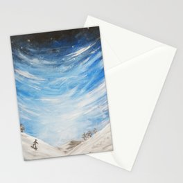 Snow scene - snowboarding on winter mountain Stationery Cards