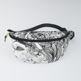 Zentangled Up in Black Fanny Pack