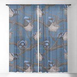 Night fairy wrens  Sheer Curtain