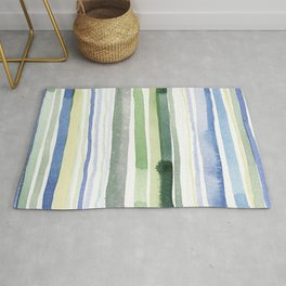 Blue Green Gray Watercolor Stripes 02 Rug