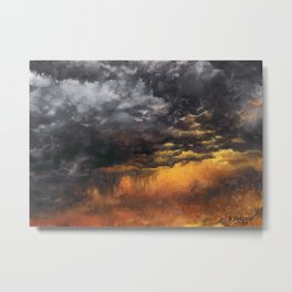 Watercolor Sky No 6 - dramatic storm clouds Metal Print