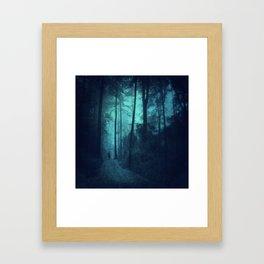 Light in a cyan forest Framed Art Print