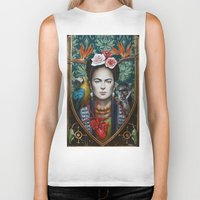frida Biker Tanks featuring Frida by Sophie Wilkins