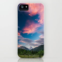 Amazing sunset clouds over mountain Mangart iPhone Case