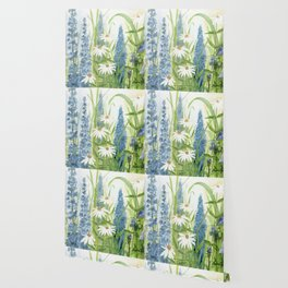 Watercolor Botanical Garden Flower Wildflower Blue Flower Garden Wallpaper