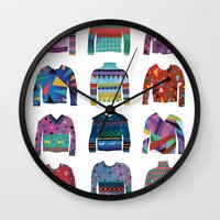 sweater Wall Clocks featuring Sweater Poster by Valeriya Volkova