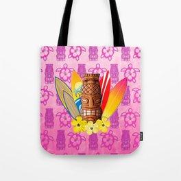 Surfboards And Tiki Mask Pink Tiki Tote Bag