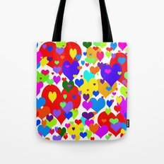Beaucoup de coeurs de couleur Tote Bag