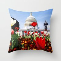 patriotic Throw Pillows featuring Patriotic Tulips by Madison Webb