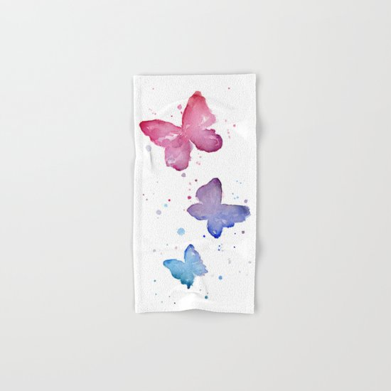 Butterflies Watercolor Hand & Bath Towel