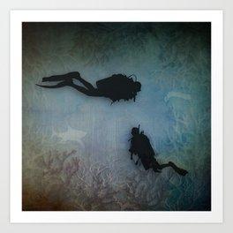 Scuba Divers Art Print