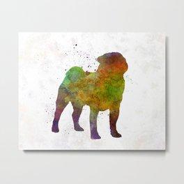 Pug 01 in watercolor Metal Print