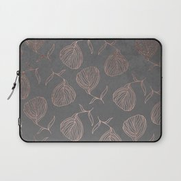 Modern floral hand drawn rose gold on grey cement graphite concrete Laptop Sleeve