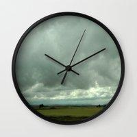 spain Wall Clocks featuring Spain Countryside by Rosie Brown