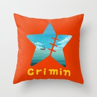 one piece Throw Pillows featuring One Piece Crimin by POP42