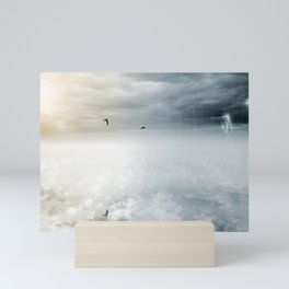 Fantasy opposite weather sky, beautiful sun and ominous stormy sky clouds Mini Art Print