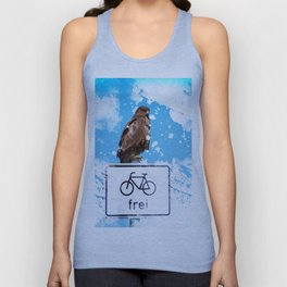 A #young #funny #buzzard #monitors the #bike #path Unisex Tank Top