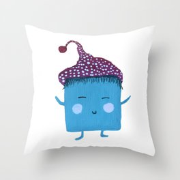 MyHappySquare with a dots hat Throw Pillow
