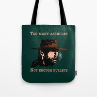 clint eastwood Tote Bags featuring Clint Eastwood by Mr. Stonebanks