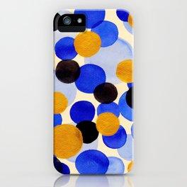 Blue Gold Watercolor Bubbles Circles Painting iPhone Case