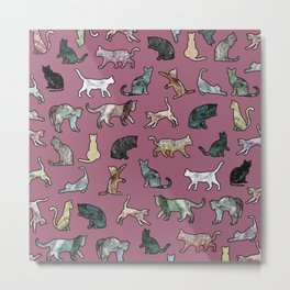 Cats shaped Marble - Plum Violet Metal Print