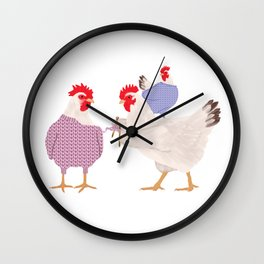 Chicken Knitting Sweaters Wall Clock