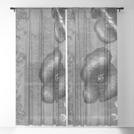 Black poppies S59 Sheer Curtain