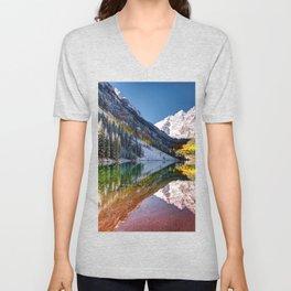OLena Art Maroon Bells And Maroon Lake Near Aspen Colordo Unisex V-Neck