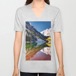 Maroon Bells And Maroon Lake Near Aspen Colorado USA Unisex V-Neck
