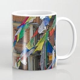 BOUDHANATH HOUSES AND FLAGS KATHMANDU NEPAL Coffee Mug