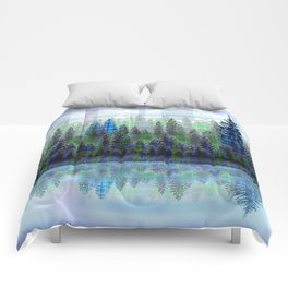 Nature Reflected Plaid Pine Forest Comforters