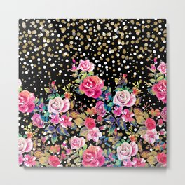 Modern watercolor spring floral and gold dots pattern Metal Print