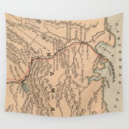 Vintage Map of The Panama Canal (1885) Wall Tapestry
